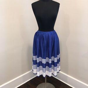 Vintage Blue/White Polka Dot Midi Pleated Skirt